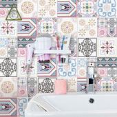 小清新花砖粉色小花片厨房卫生间墙砖仿古水泥砖防滑地砖瓷砖200图片