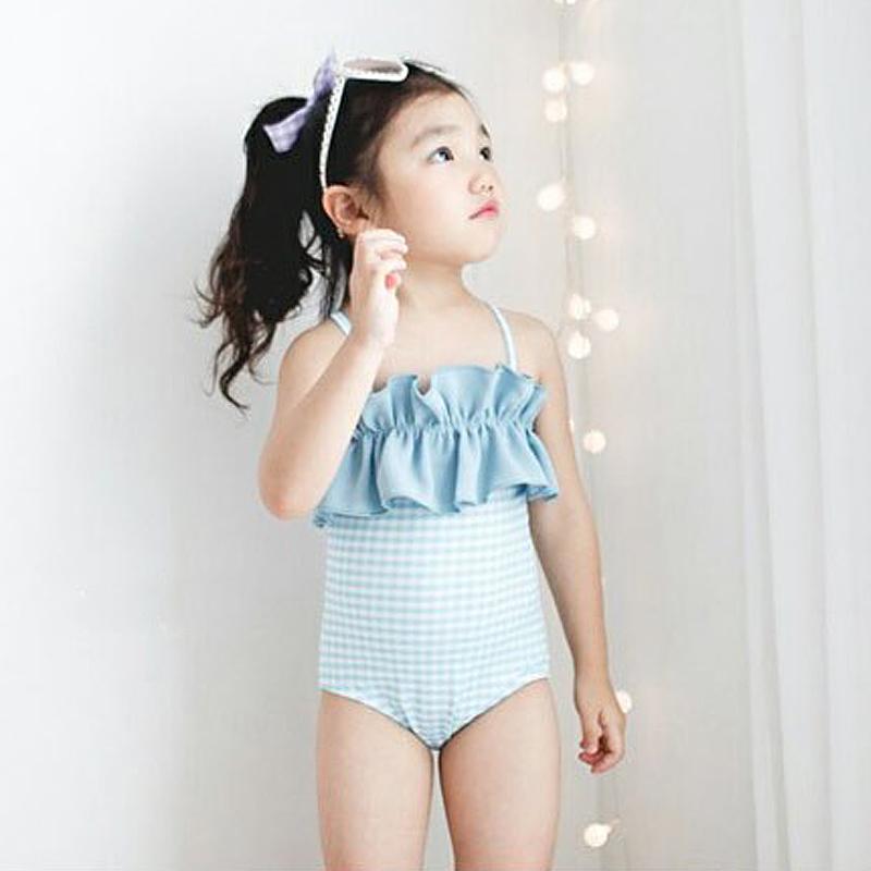 韩国女童新款泳衣荷叶花边吊带清新格子连体泳衣温泉游泳衣中大童