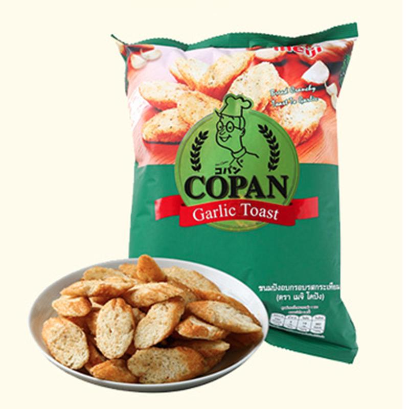 泰国原装进口70g明治meiji蒜蓉芝士面包干Copan蒜香711店早餐零食,网红进口零食面包干