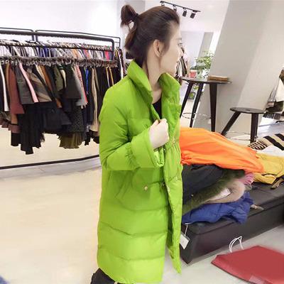绿色中长款轻薄直筒喇叭袖羽绒服2017欧洲冬装新款欧货站潮女装