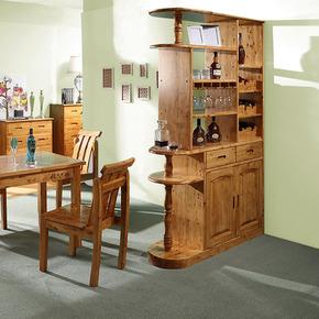 香柏木家具酒柜吧台一体客厅酒柜隔断双面实木酒柜现代中式酒柜