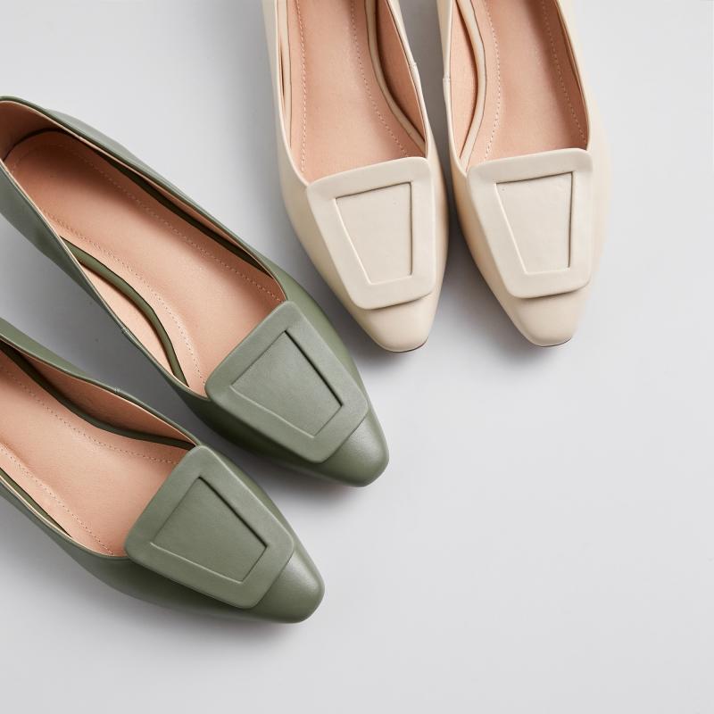 鹿与奈良春女鞋方扣平底鞋韩版甜美可爱休闲时尚淑女显瘦气质单鞋