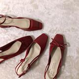 新款复古方头蝴蝶结小红鞋粗跟凉鞋chic网红仙女鞋夏季浅口一字扣