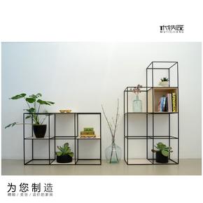 美式现代简约时尚格架创意铁艺玄关格子实木屏风隔断书架置物展架