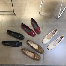 欧美春秋新款气质通勤懒人鞋浅口方头平底单鞋一脚蹬奶奶鞋果冻鞋