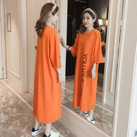 Nightdress female spring and autumn cotton long sleeves long skirt over the knees pajamas loose fat code students wear home clothes