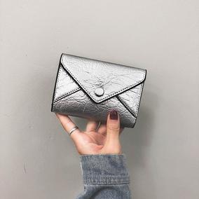 小钱包女短款ins2018新款日韩版简约纯色搭扣钱夹迷你零钱包卡包