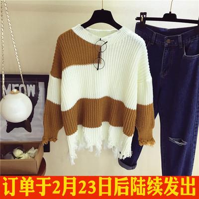 流苏毛衣外套女秋装新款韩版chic复古宽松撞色圆领套头学生针织衫