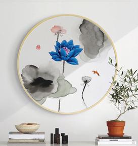 现代圆框装饰画新中式古典风景画实木挂画客厅单幅组合圆形墙壁画