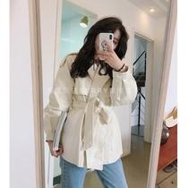 Berry 喜你而欢大庞定制春季新款气质收腰白色皮衣外套女韩版chic