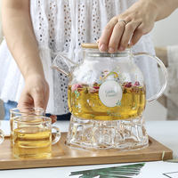 Japanese-style heating glass flower tea set with filter heat-resistant explosion-proof afternoon tea teapot home fruit teapot