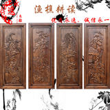 Dongyang woodcarving camphor wood carved plate antique Chinese rectangular wall hangings carved strip screen partition four sets