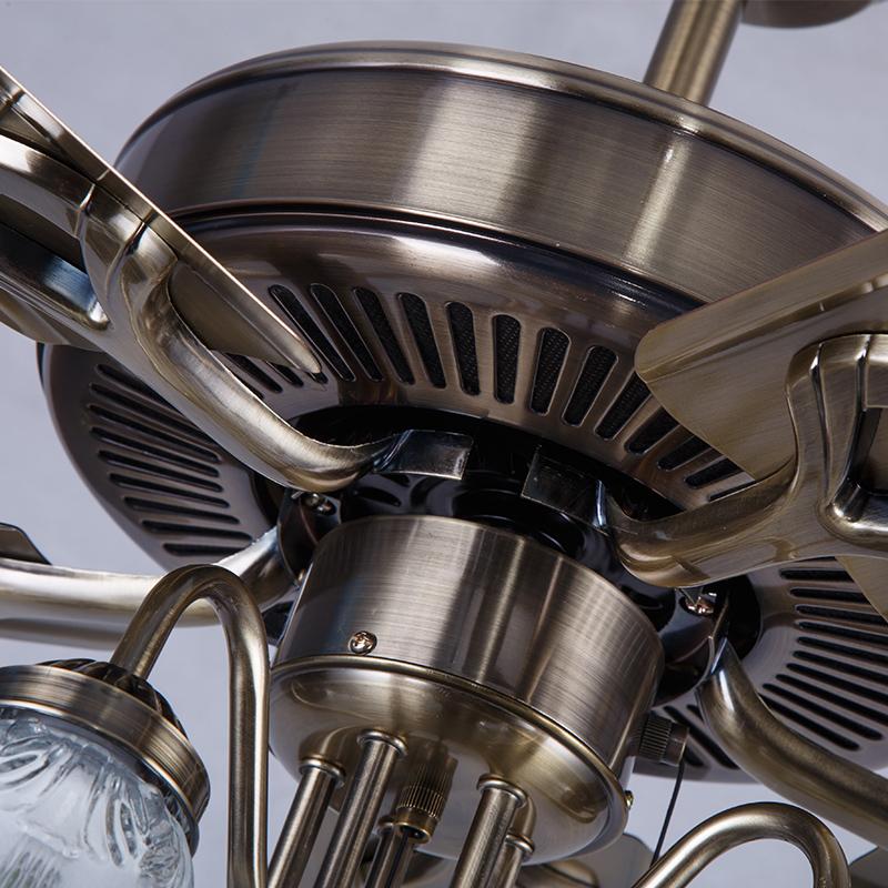 风扇吊灯 餐厅吊扇灯客厅卧室简约现代铁叶木叶带LED的欧式风扇灯