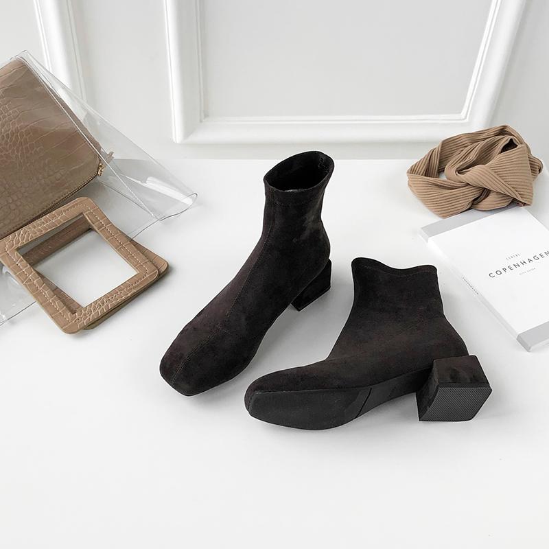 莲花府邸短靴新款马丁靴显瘦弹力靴瘦瘦靴粗跟方头短筒靴保暖女靴