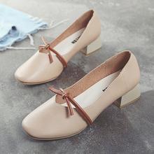 鞋子女2018新款春季韩版百搭女鞋浅口中跟单鞋女 粗跟时尚奶奶鞋