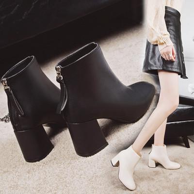 粗跟短靴女方头高跟鞋子加绒马丁靴女秋冬新款2018百搭后拉链裸靴