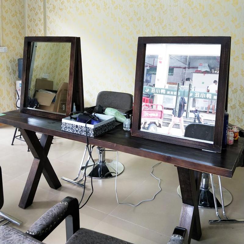 包邮复古实木单面双面镜化妆镜剪发壁挂镜发廊理发店镜台美发镜台