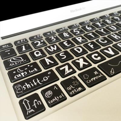 畅销苹果笔记本电脑键盘贴膜macbookair pro按键贴纸13寸创意键位评测