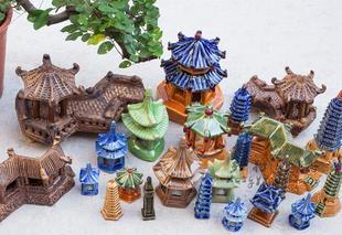 盆景造景 鱼缸造景装饰陶瓷摆件小房子 手工diy 制作摆件微景观亭