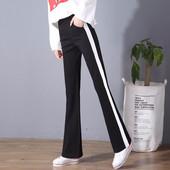 侧边白条微喇叭裤女春夏韩版高腰运动裤修身显瘦弹力休闲直筒长裤