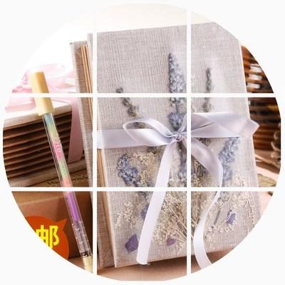 5寸干花相册折叠式diy手工纪念册粘贴拉页手风琴创意本韩文艺真花