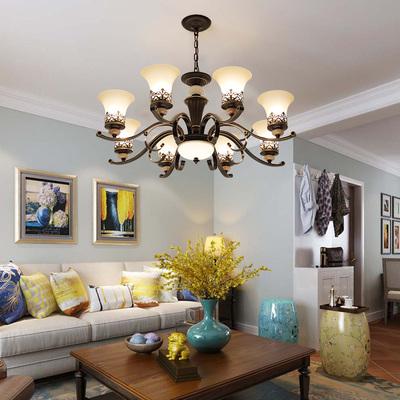 美式乡村吊灯 铁艺客厅灯现代简约餐厅灯3头欧式复古玉石卧室灯具排行