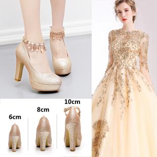 金色高跟鞋婚鞋女冬季粗跟新娘鞋中跟香槟色防水台婚纱伴娘鞋单鞋