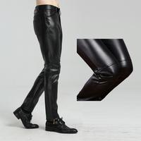 机车皮裤男加绒摩托车男士皮裤韩版修身款潮黑色帅气青少年非主流
