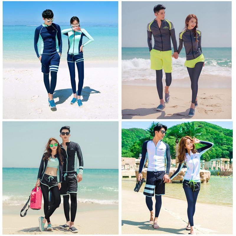 韩国潜水服女分体长袖长裤游泳衣防晒冲浪浮潜情侣男士套装水母衣