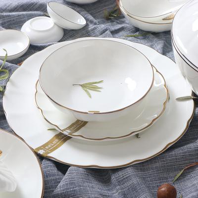锦牌欧式骨瓷品味餐具简约金边饭碗汤盘浅碗陶瓷家用西餐盘色拉碗
