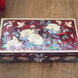 Snail lacquer ware jewelry box solid wood red jewelry storage box Chinese retro wedding Valentine's Day gift