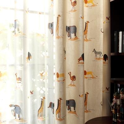 定制 北歐美式棉麻布料卡通兒童房遮光窗簾成品男孩女孩臥室窗紗哪里便宜
