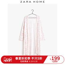 Zara Home 粉红色花卉蕾丝花边刺绣棉质长款薄款睡袍 42411434676