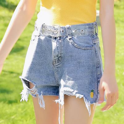 [纤嫚]2018夏季新款韩版气质高腰显瘦破洞毛边牛仔短裤女A214