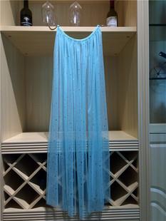 冰雪奇缘爱莎公主裙披纱艾莎公主披纱头纱蓝披肩儿童亮片网纱披风