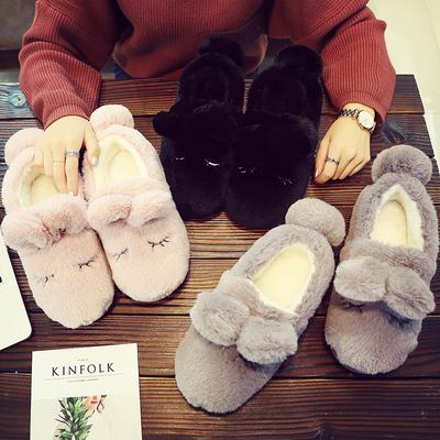情侣男女卡通包跟加厚底毛毛可爱防滑室内居家月子棉拖鞋 冬季保暖