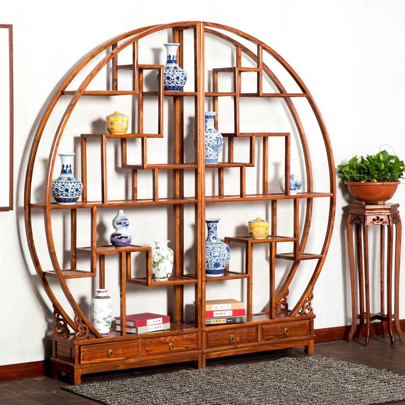 圓形博古架實木中式