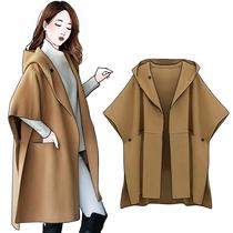 大码女装秋冬新款欧美大牌中长款大衣胖mm宽松显瘦斗篷毛呢外套潮