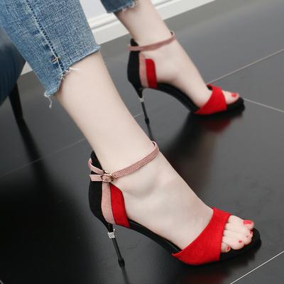 一字扣高跟鞋细跟2018新款夏季舒适女神凉鞋显瘦拼色气质名媛女鞋