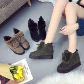 毛毛鞋女冬2017新款百搭韩版秋季加绒松糕鞋学生内增高棉鞋高跟鞋