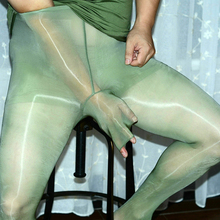 Oil bright pants men's jj sets of stockings tights army green ultra-thin pantyhose bag egg sexy stockings men's socks