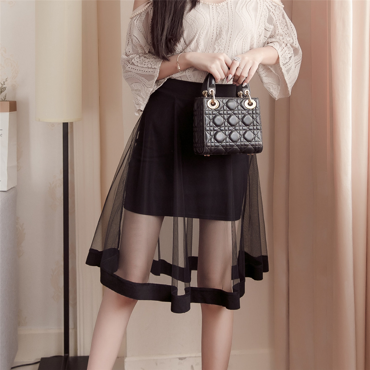 透视短裙半身裙