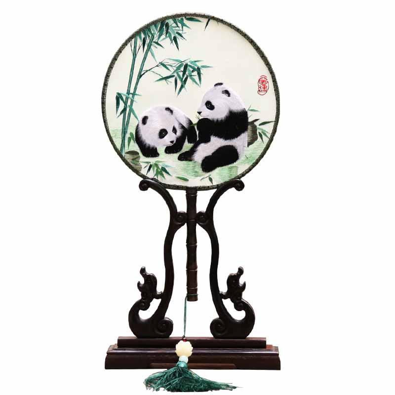 商务礼品熊猫蜀绣圆扇刺绣团扇扇子手工艺双面绣出国礼品盒
