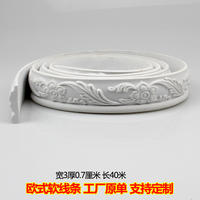 European pvc soft line decorative border sealing frame edging close pu wood decoration plaster line background wall