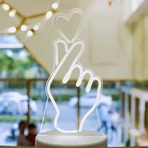 灯座小夜灯生日节日礼物led透明手势比心小台灯发光暖灯白光