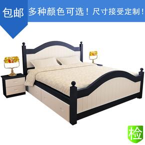 欧式床 主卧实木床1.8米婚床 真皮白色双人床 2米2.2米加宽大床
