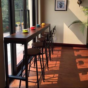 美式实木客厅吧台桌现代简约铁艺复古酒吧咖啡厅高脚桌椅长条桌子