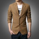 春季加大西服潮大码青年纯棉便装男外套休闲小西装男修身单西韩版