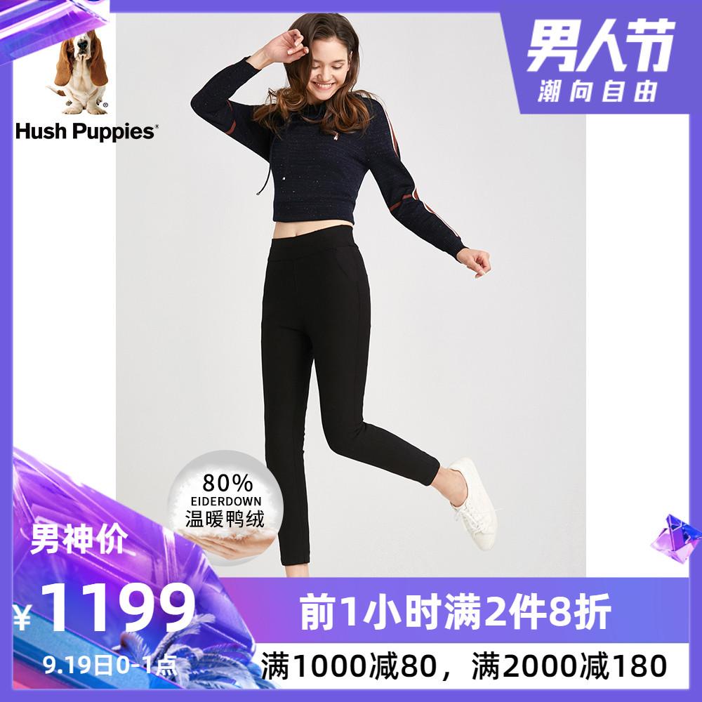 Hush Puppies暇步士女装2018年冬新款保暖加绒羽绒裤 HQ-18701D