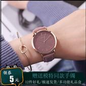 新款 julius聚利时韩风大表盘女表学生时尚 潮流真皮带休闲防水手表